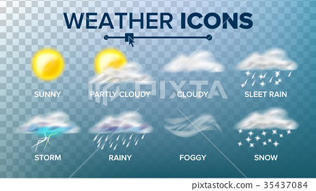 Weather Icons Set Vector. Sunny, Cloudy Storm 35437084
