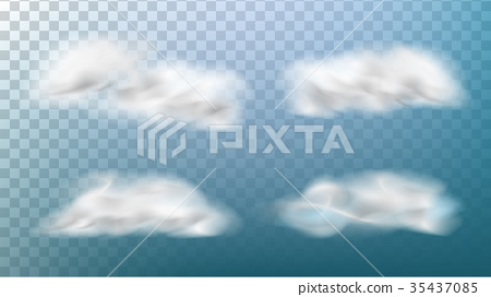 Realistic Clouds Vector  Isolated On Transparent - Stock