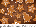 Gingerbread man on wooden table background.  35437517