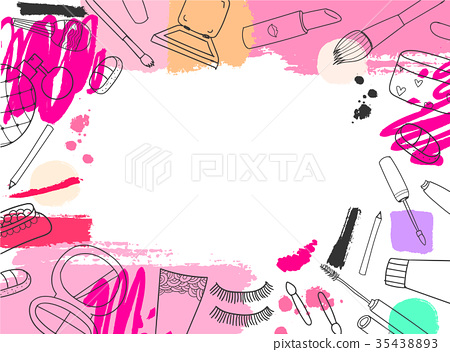 Vector cosmetics banner, background. Hand drawn 35438893