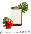 Antique clipboard paper green monstera leaves  35439165