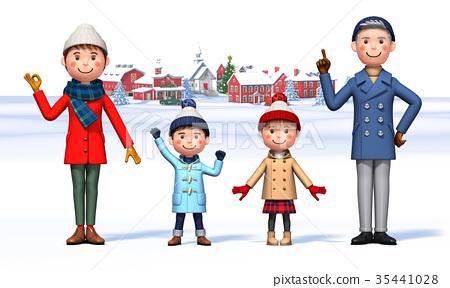 7f2168b23bc2 Family winter clothes Parent-child 2 - Stock Illustration  35441028 ...