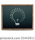 Black Chalk Board With Bulb Drawing Chalk 35442811