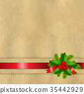 Vintage Paper With Divider And Holly Berry 35442929