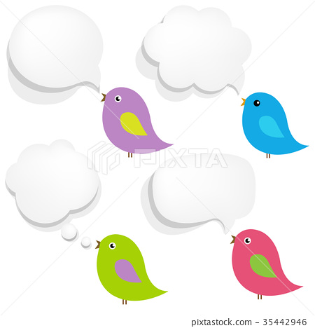 White Paper Speech Bubble And Birds 35442946