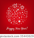 Red Happy New Year Card 35443029