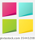 Collection of different colored sheets of note. 35443208