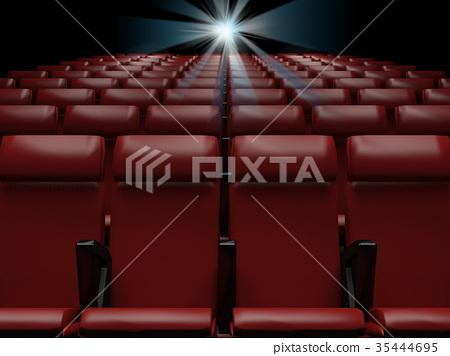 Empty  red seats  in cinema,3d rendering 35444695