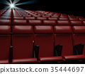 Empty  red seats  in cinema,3d rendering 35444697