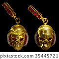 Jewelry gold skull earrings with diamond and red 35445721