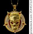 Jewelry gold skull pendant with star pentagram 35445722
