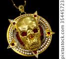 Jewelry gold skull pendant with star pentagram 35445723