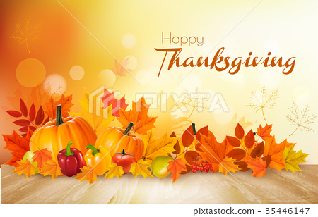 Happy Thanksgiving background with vegetables 35446147