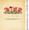 Holiday background with christmas tree branches 35446149