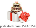Birthday Cake inside gift box, 3D rendering 35446154