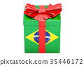 Gift box with flag of Brazil, holiday concept 35446172