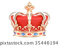Gold Royal Crown with Jewels, 3D rendering 35446194