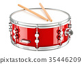 Red drum with drumsticks, 3D rendering 35446209