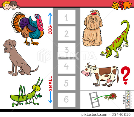 big and small animals game for children - Stock Illustration ...