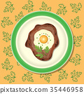 Fried meat with egg and parsley on the plate 35446958