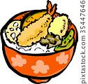 tendon, tempura served over bowl of rice, bowl 35447646