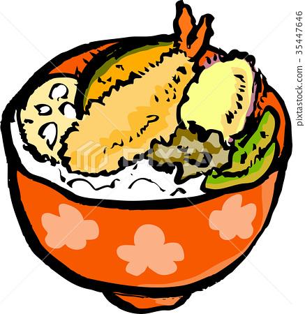 米饭和油炸鱼碗 35447646