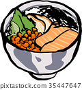 seafood, bowl, vector 35447647