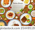 Italian cuisine with different types of food 35449519