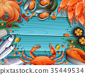 Border template with different seafood 35449534