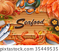 Different types of seafood on board 35449535