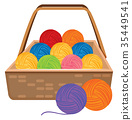 Basket full of colorful yarns 35449541