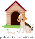 Dog pet with bone at doghouse 35449543