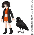 Girl and raven on white background 35449555
