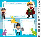 Border template with kids in medieval costumes 35449583