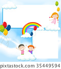 Banner template with kids and blue sky 35449594