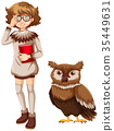 Woman and brown owl on white background 35449631