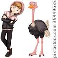 Teenage boy with cute ostrich 35449635