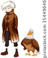 Wild eagle and boy with white hair 35449646