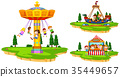 Children playing on rides in the park 35449657