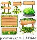 Wooden signs with colorful flowers 35449664