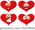 Red hearts with facial expressions 35449666