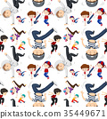 Seamless background template with kids dancing 35449671