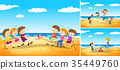 Children playing games on the beach 35449760