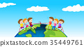 Children playing tug of war on earth 35449761