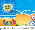 Ocean scenes with umbrellas on beach 35449765