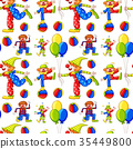 Seamless background with clowns and balloons 35449800