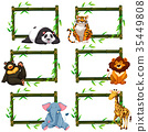Six bamboo frames with wild animals 35449808