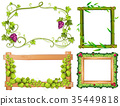Four different designs of frames with green leaves 35449818