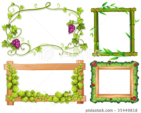 Four different designs of frames with green leaves - Stock ...