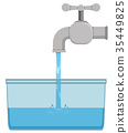 Faucet and tap water in bucket 35449825